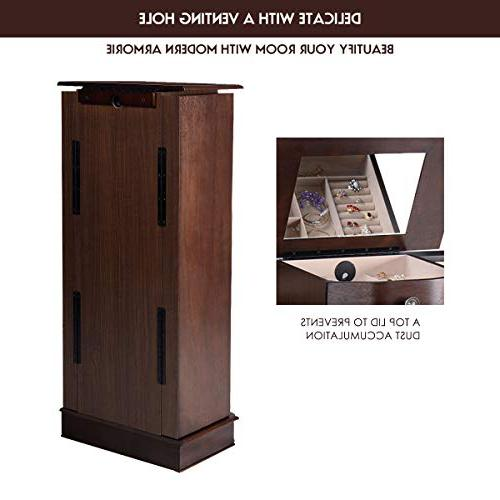 """Giantex 40"""" Chest Heavy 17"""" Wide Stand Organizer Large Storage 2 Swing Doors 16 Mirror Standing Armoires Jewelry Cabinets 8"""