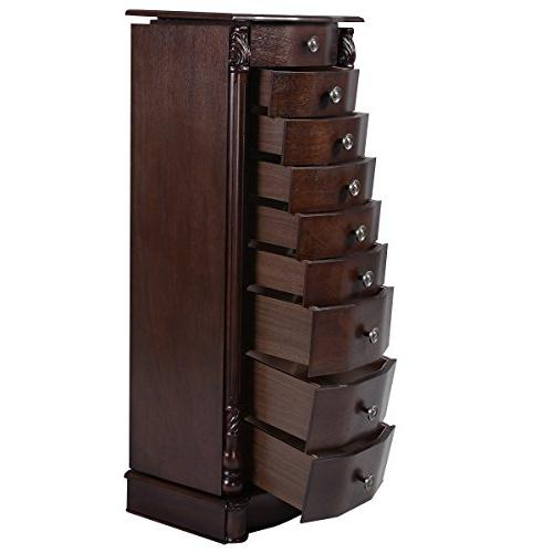"""Giantex 40"""" Chest 17"""" Wide Large 2 Swing Doors Armoires Cabinets w/ 8 Drawers,Walnut"""
