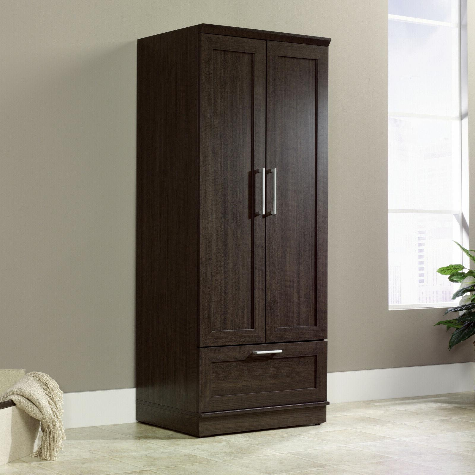 Armoire Closet Organizer Bedroom Brown Oak
