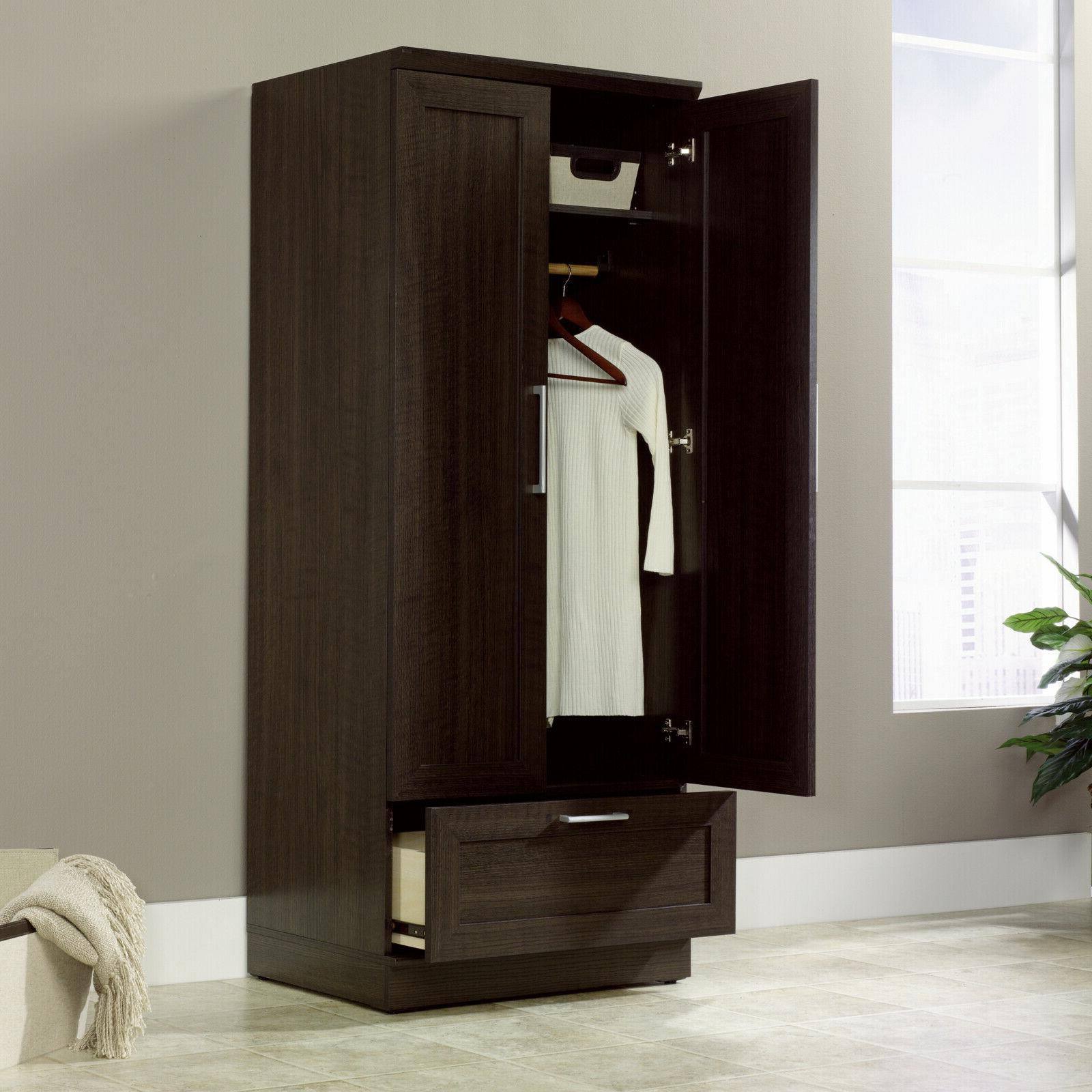 Armoire Storage Closet Organizer Brown Oak