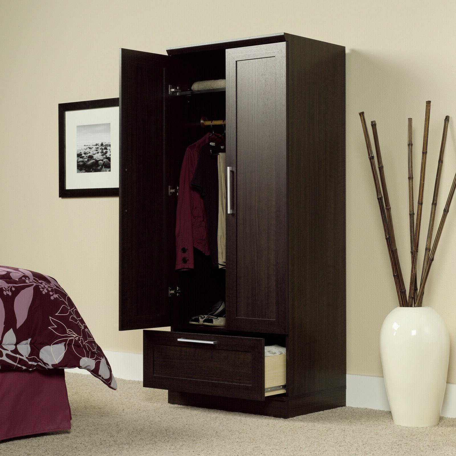 Armoire Storage Closet Brown Oak