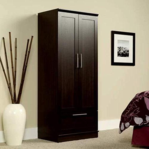 Baby Armoire Wardrobe Tall Corner Cabinet, Contemporary Door with Drawer & E-Book