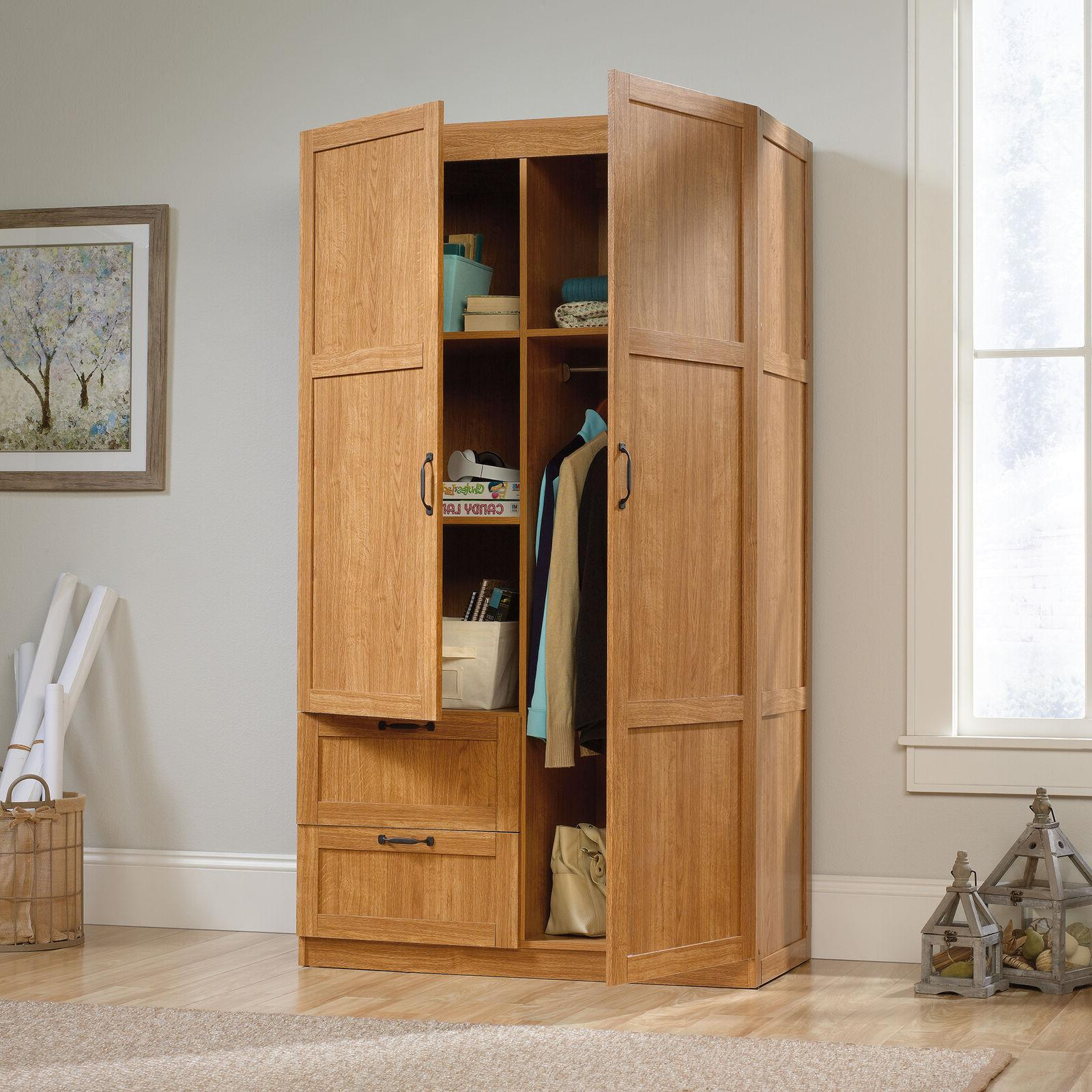 Wardrobe Armoire Storage Cabinet w/ 2-Drawers Bedroom Clothe