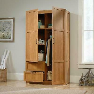 Armoire Storage Cabinet Closet in Oak Finish