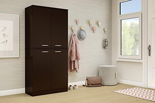 South Shore 4-Door Cabinet with Adjustable Shelves,