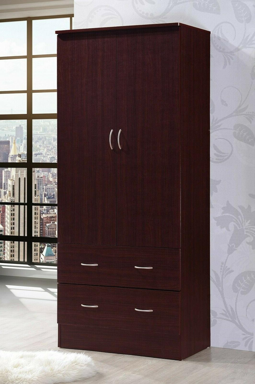 Bedroom Armoire 2-door 2-drawers Mahogany Wardrobe Storage C