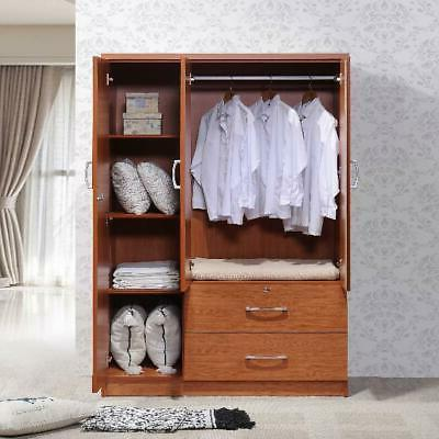 Bedroom Armoire 3-Door Wardrobe Storage 2-Drawers Wood