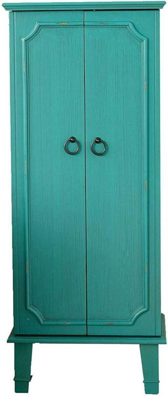 cabby fully locking jewelry armoire turquoise