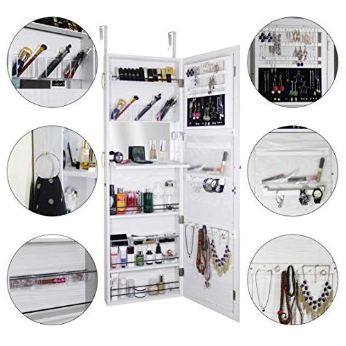 Blissun Cabinet Armoire, Mirrored Jewelry Armoire, White