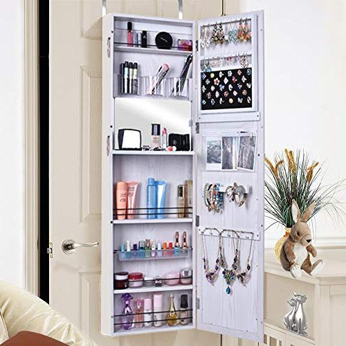 Blissun Cabinet Mirrored Jewelry Armoire,