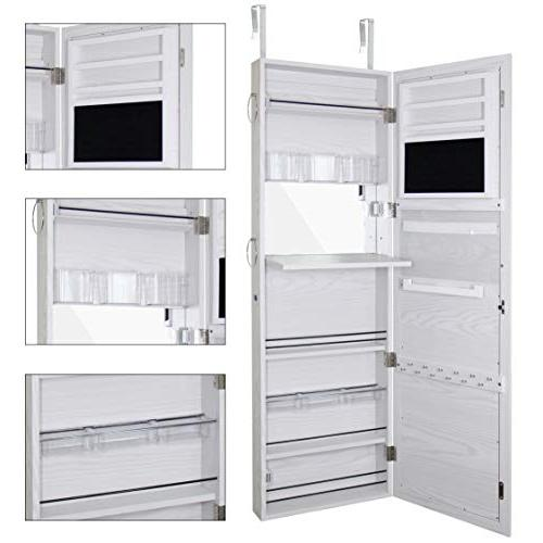 Blissun Jewelry Cabinet Mirrored Jewelry Armoire, White