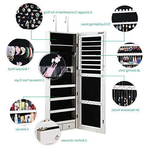 TomCare Jewelry Jewelry Armoire Door Jewelry Organizer Mirror Drawers Box Earring Hanging Jewelry Storage