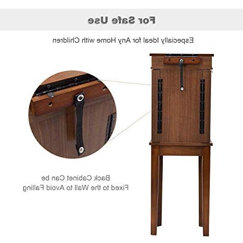 Giantex Chest Cabinet Storage for Women 6 Hooks Makeup Up Armoires w/ 5 and Mirror