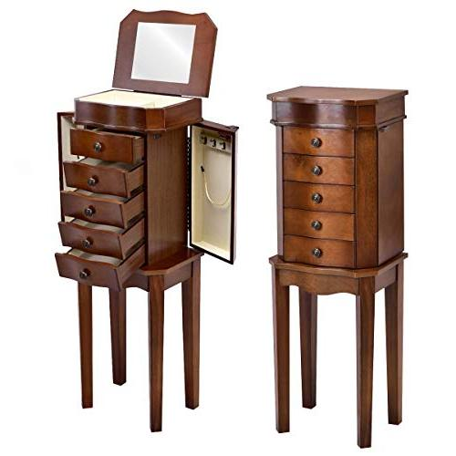 cabinet armoire wood embedded mirror