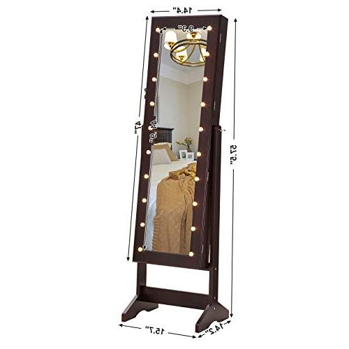 SONGMICS LED Armoire with Mirror, Jewelry with Marquee Brown UJJC81BR