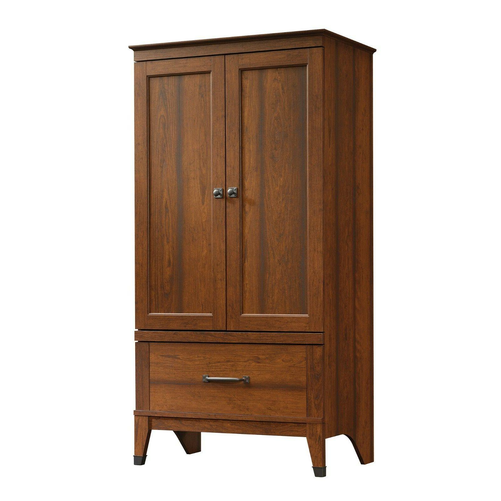 Cherry Finish Wardrobe Bedroom Closet With