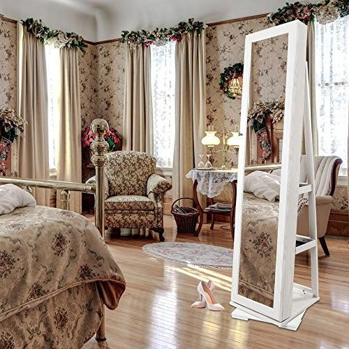 """Bonnlo Cheval Jewelry 360 Degree Swivel Mirrored Cabinet,w/ 63"""" H Full Length Decorate Bedroom Solid Gift"""