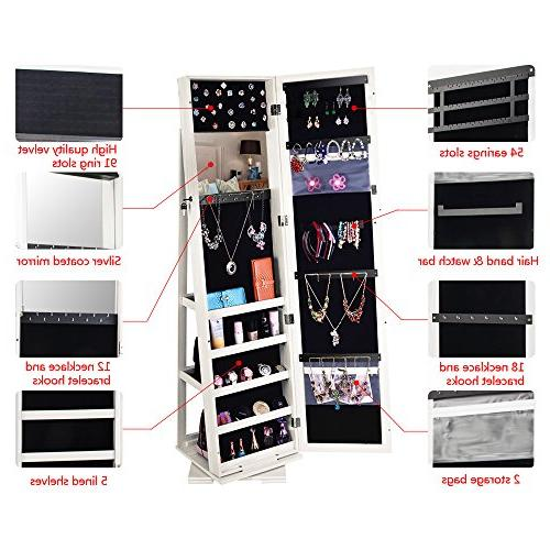 Bonnlo Armoire 360 Mirrored Full Decorate Closet Makeup Bedroom Solid Freestanding,New Gift
