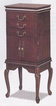 Dark Cherry Finish Wood Jewelry Armoir w/Queen Anne Style Le