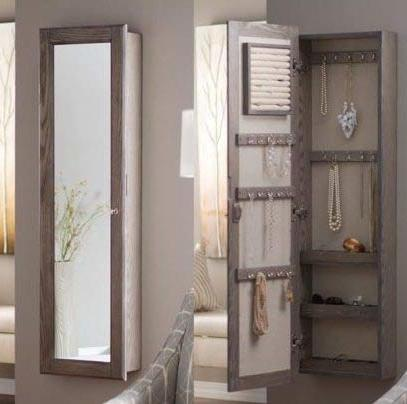 driftwood wood with mirror lockable wall mounted