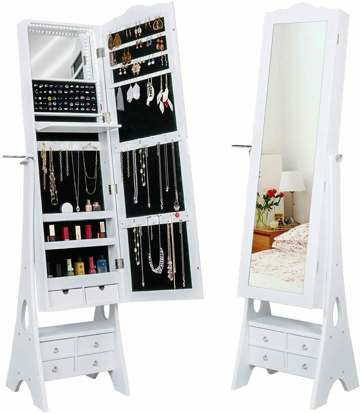 Floor Standing Jewelry Armoire,79 LED Lights Jewelry Storage