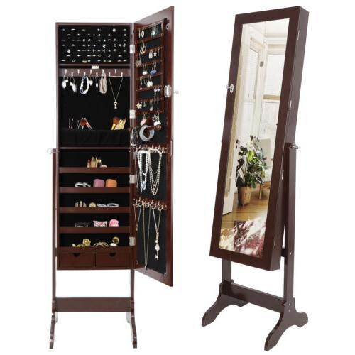 Free Standing Length Mirror Cabinet Storage Brown