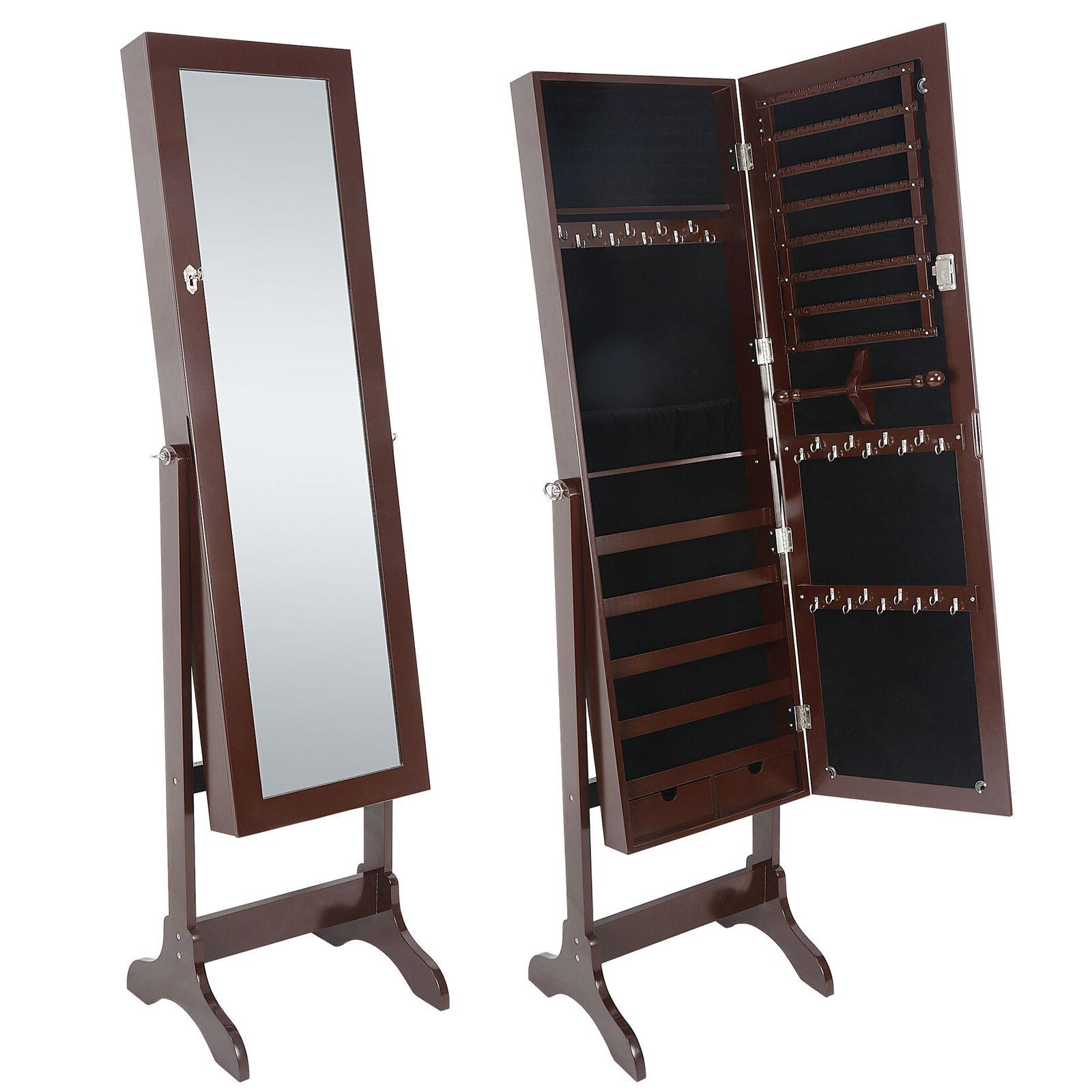 Free Full Mirror Jewelry Cabinet Armoire Storage Brown