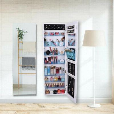 New Full Mirror Jewelry Cabinet Armoire w/ Blue Acrylic Stor