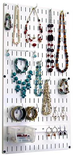 Wall Control Jewelry Organizer Wall Hanging Holder Kit, Whit