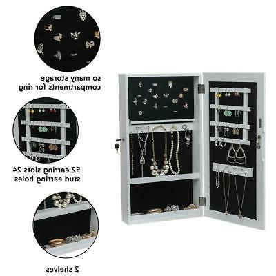 Wall Mounted Mirrored Jewelry Cabinet Armoire Home US