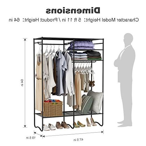 LANGRIA Extra-Large Zip Up Closet with Detachable Brown Cover Metal Clothes Rack 4 2 Hanging Rods 463 lbs.