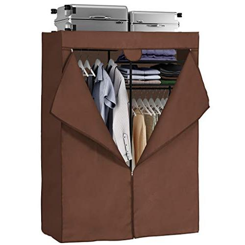 LANGRIA Up with Cover Clothes Armoire with 4 Hanging Rods Max 463 lbs.