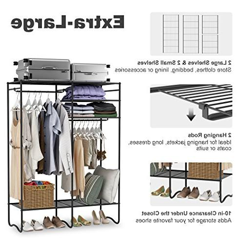 LANGRIA Heavy-Duty Zip Up Closet Organizer with Cover Storage Clothes Rack with 4 Shelves and Hanging Rods Max 463