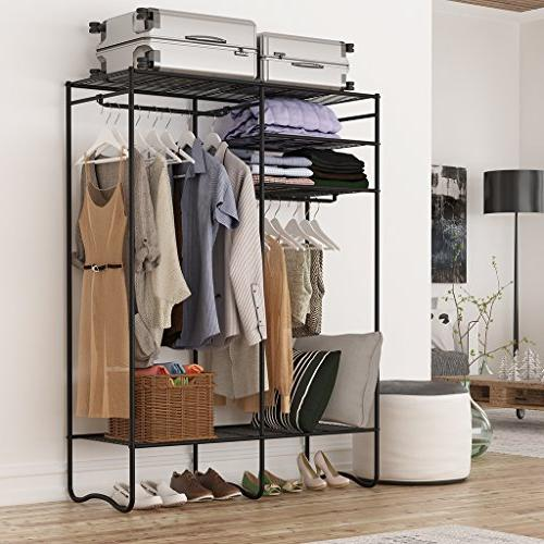 LANGRIA Zip Up Shoe with Detachable Brown Cover Metal Storage Clothes Rack Armoire 4 Shelves and Hanging Rods 463