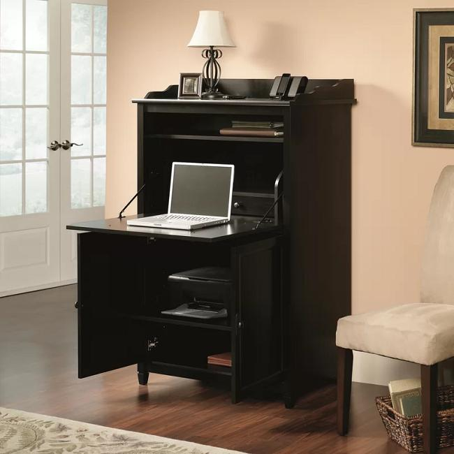Hidden Office Desk Compact Computer Armoire Dark Espresso