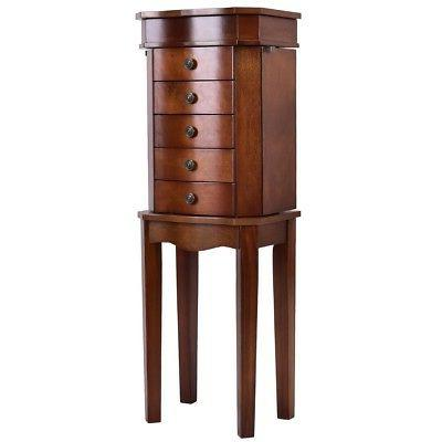Armoire Storage Free Standing Jewelry Cabinet with 5 Drawers