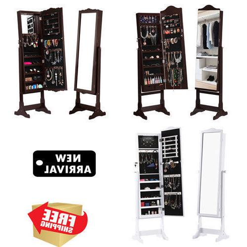 home lockable standing jewelry cabinet armoire storage