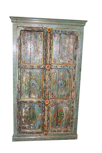 indian antique cabinet armoire distressed