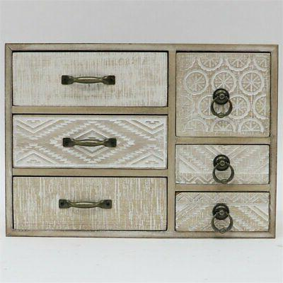 jeco 6 drawer jewelry armoire in natural