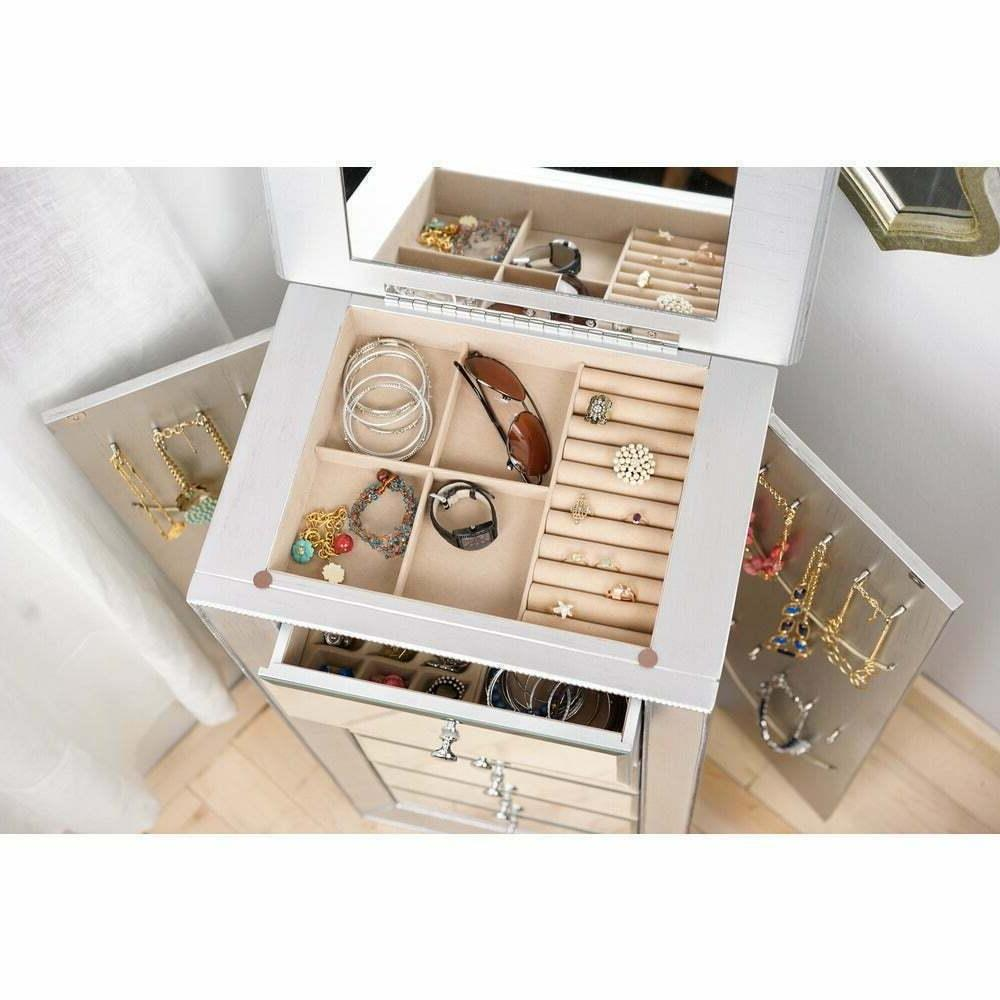 Jewelry Armoire Cabinet Silver Storage Drawers