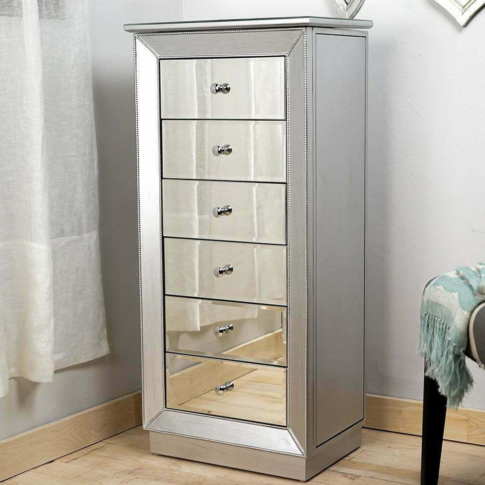 jewelry armoire mirrored chest cabinet silver storage
