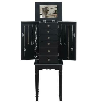 Mirrored Jewelry Cabinet Armoire Storage Box Chest Standing