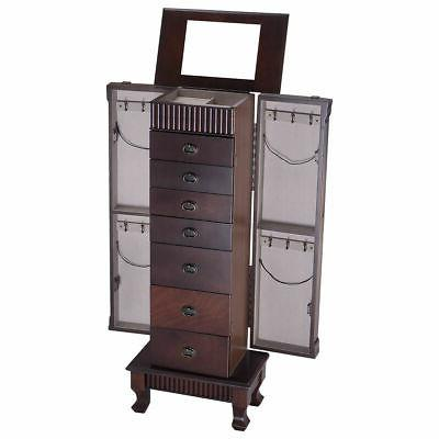 Jewelry Cabinet Armoire Storage Stand Wood
