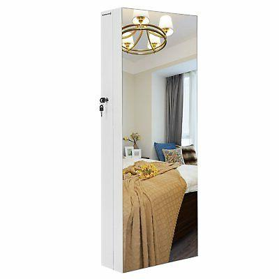 jewelry cabinet armoire with frameless mirror 5