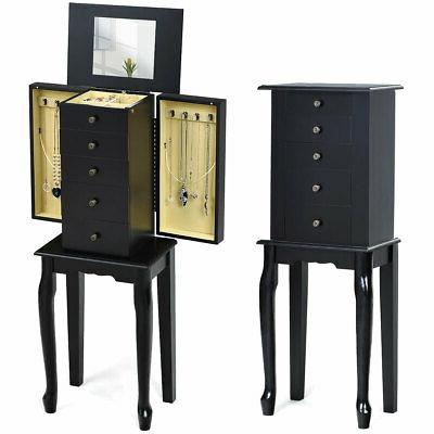 jewelry cabinet w mirror armoire storage box