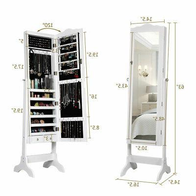 Home Jewelry Mirrored Armoire Storage Drawer& Led Lights White