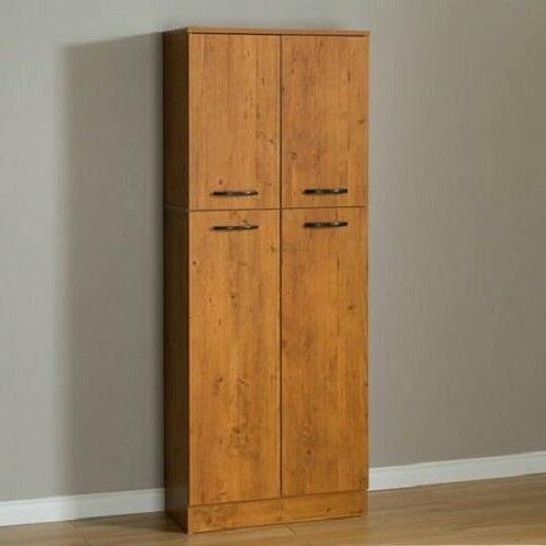 Kitchen Storage Cabinet with 4 Doors Adjustable Shelves Wood