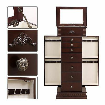 SONGMICS Large Jewelry Armoire Cabinet Standing Neckalce