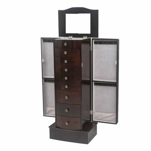 large standing jewelry armoire storage chest stand
