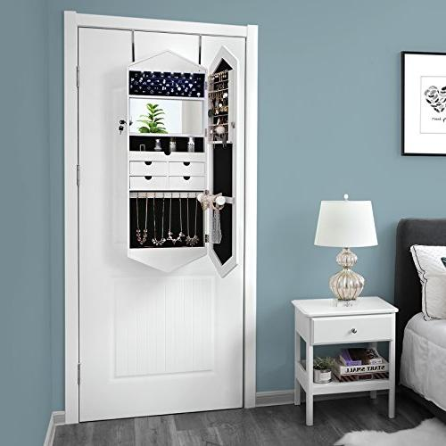 SONGMICS Layout Cabinet Armoire Mirror, 6 Jewelry Mirrors